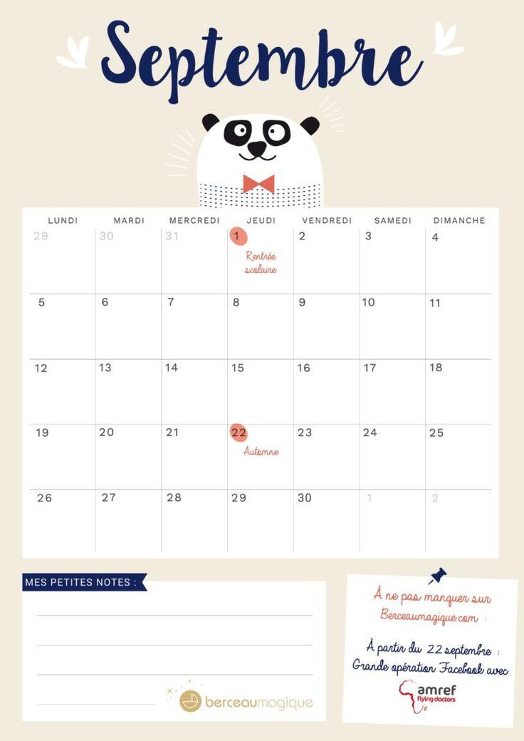 25 best ideas about calendrier septembre on pinterest calendrier imprimable gratuit - Calendrier lune septembre 2017 ...