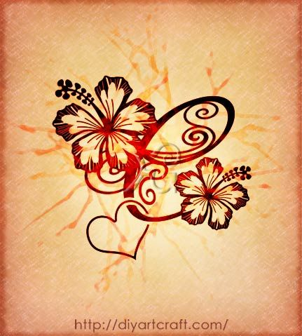 letter c hibiscus tattoo for first initial of my 4 kiddos tattoo ideas pinterest. Black Bedroom Furniture Sets. Home Design Ideas