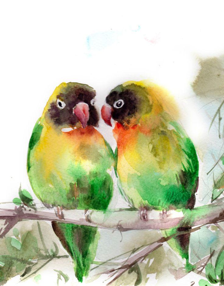 Lovebirds Fine Art Print, Liebe Vögel paar Aquarell leuchtende Farben malen Kunst, Vogelkunst, tropische Vögel in Liebe Wand drucken