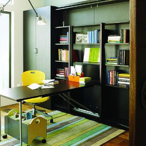 Following the principle of a Murphy bed, this desk swings up into the bookcase for storage when not in use.