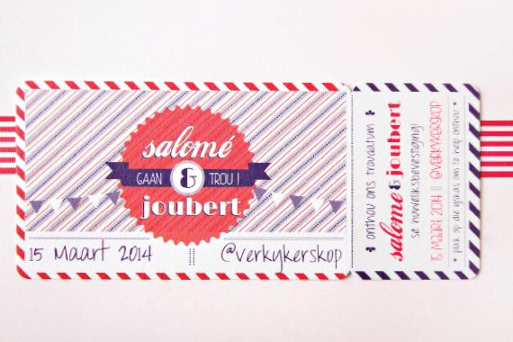 Chrystalace Wedding Stationery Blue and Red Retro Save the Date