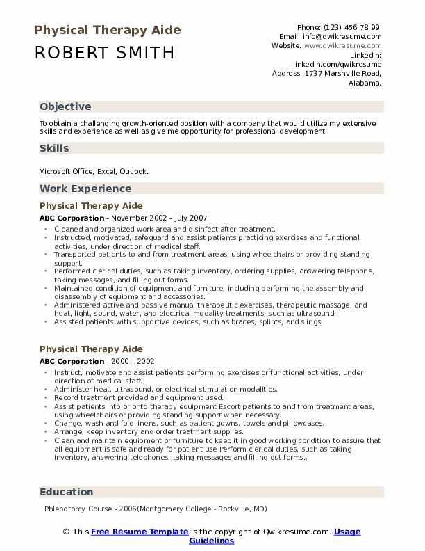 Physical Therapy Aide Resume Louiesportsmouth Com Resume Template Manager Resume Resume Examples