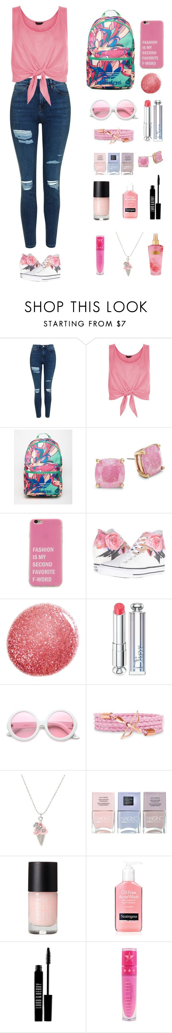 """Untitled #273"" by keyling99 ❤ liked on Polyvore featuring Topshop, New Look, adidas, Kate Spade, Converse, NARS Cosmetics, Christian Dior, ZeroUV, Nails Inc. and Lord & Berry"