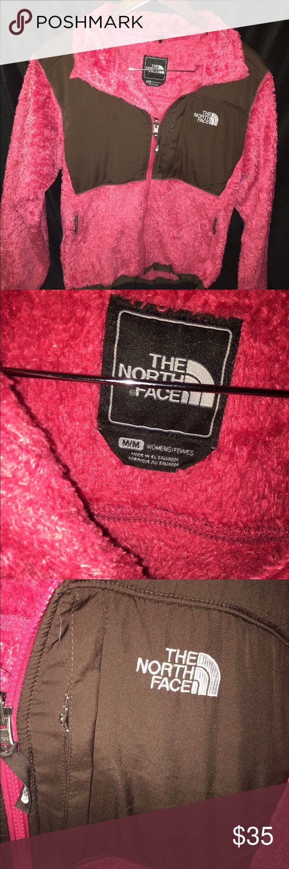 Pink Brown Fuzzy Soft Women's North Face Jacket Pink brown fuzzy north face jacket. Women's Medium, their is a flaw shown in the 4th photo, a small hole on the back of the jacket. Otherwise, in great condition.   ❦ If you have a problem with your order- please contact me before leaving feedback and I will try to fix it!!   The North face, Pink, fuzzy, soft, zip up, brown, fleece, jacket, coat, full zip, collared, northface, north face, The North Face Jackets & Coats