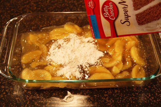 Pour Apple Pie Filling in Pan and Top With Cake Mix