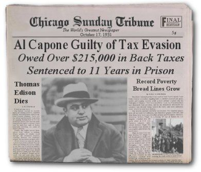 Image result for mobster al capone convicted of tax evasion