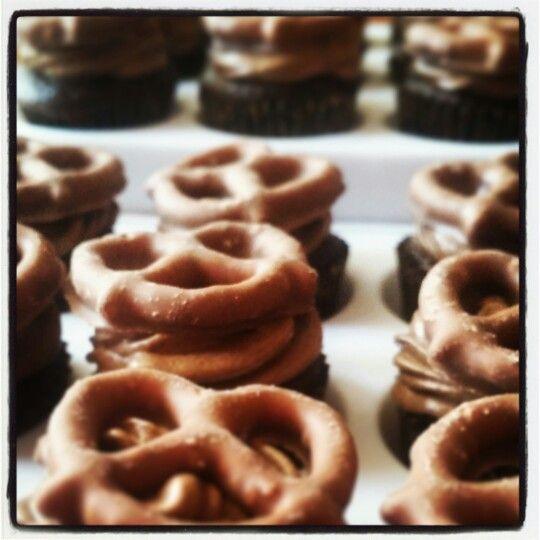 Chocolate covered pretzel cupcake
