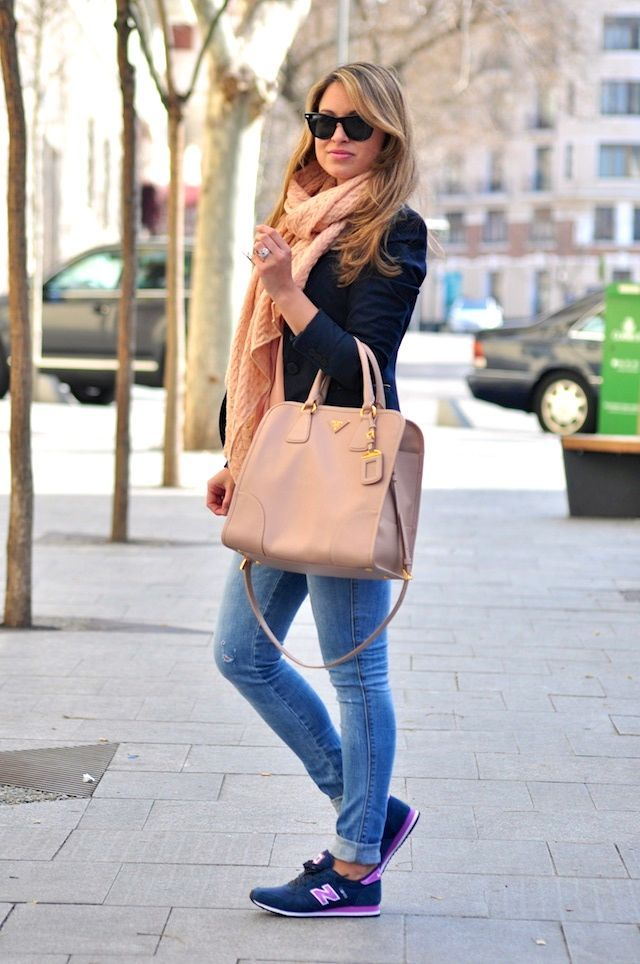 #new balance. casual outfit. Jeans, blazer, scarf.