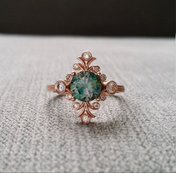 "Teal Moissanite Diamond Victorian Bohemian Engagement Ring Antique Art Nouveau Art Deco Blue Green Flower 14K Rose Gold ""The Fountainhead"""