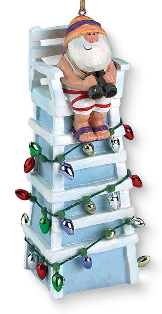 Amazon.com - Tiki Ocean Beach Santa Lifeguard Christmas Ornament - Beach Christmas Decorations