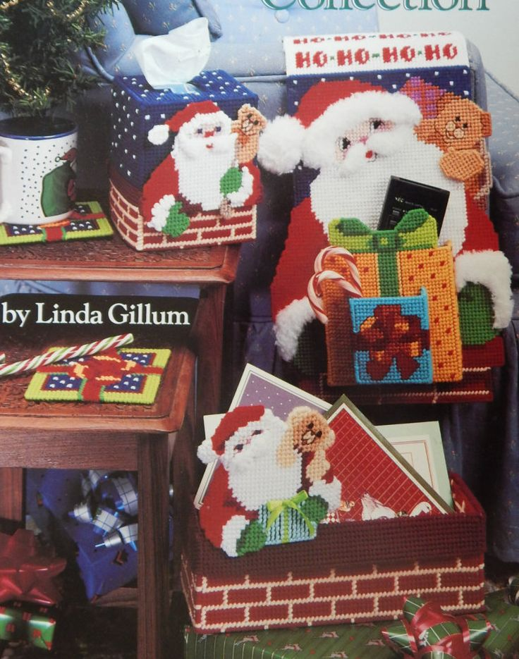 Plastic Canvas Christmas Patterns/ Christmas Collection by Linda Gillum/ gift box, doorstop, cardholder, coasters, tissue cover, ornaments by RedWickerBasket on Etsy