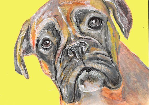 Boxer Dog wall art Print of Original Painting Mustard Yellow background ha… #doglover #Print https://t.co/ovVWw65uKV:… #dogs #pets #puppy