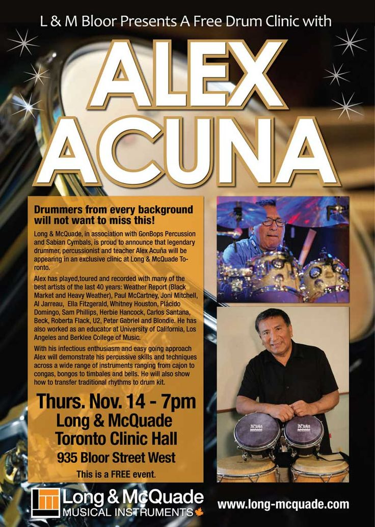 #MIDF Recommends Alex Acuña , legendary drummer, percussionist and teacher in clinic at Long & McQuade Toronto.