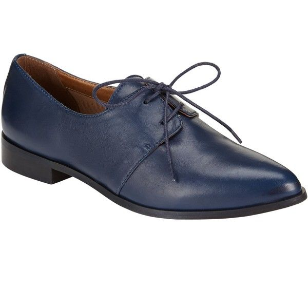 Kin by John Lewis Frode Leather Lace Up Brogue Shoes, Navy (680 DKK) ❤ liked on Polyvore featuring shoes, oxfords, oxford shoes, synthetic leather shoes, navy blue shoes, navy blue flat shoes and navy loafers