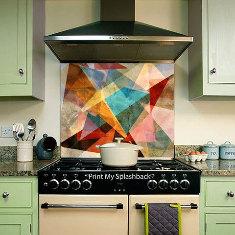 Digitally Printed Glass Splashback for Kitchen - Abstract - Bright Colourful geometric of different Elements,