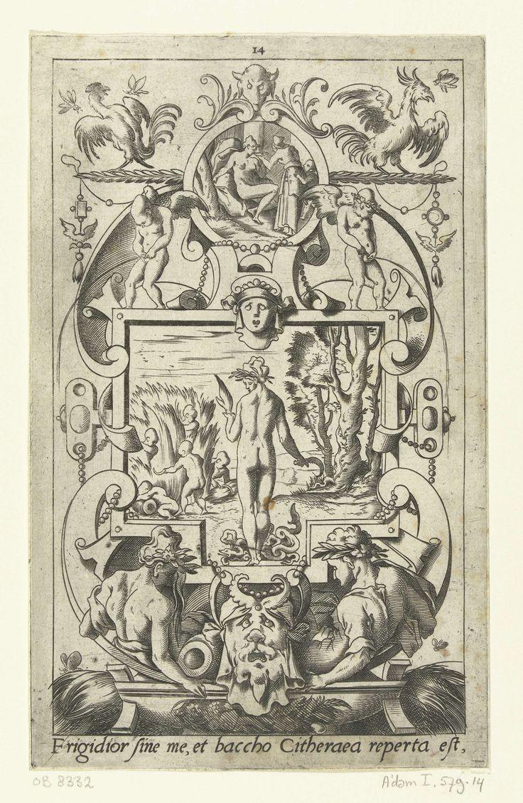 Leonard Thiry | Ceres, op de rug gezien, met slangen aan haar voeten, Leonard Thiry, 1551 - 1580 | Onderaan staat een Latijnse tekst. Uit serie van 16 deels genummerde bladen met vlakdecoraties van goden en godinnen in een omlijsting van grotesken met fantastische wezens, dieren, guirlandes en mascarons.