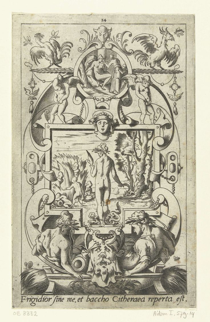 Leonard Thiry   Ceres, op de rug gezien, met slangen aan haar voeten, Leonard Thiry, 1551 - 1580   Onderaan staat een Latijnse tekst. Uit serie van 16 deels genummerde bladen met vlakdecoraties van goden en godinnen in een omlijsting van grotesken met fantastische wezens, dieren, guirlandes en mascarons.