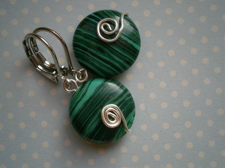 Ohrringe,grün, Malachit,wirework von kunstpause auf DaWanda.com