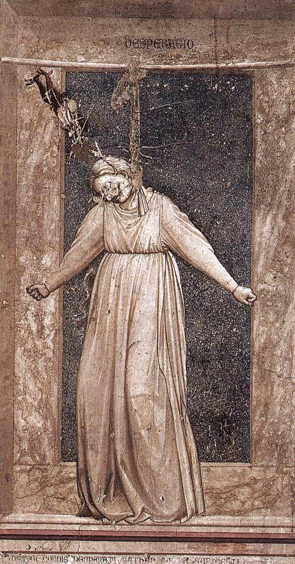 The Seven Vices: Desperation    1306  Fresco, 120 x 60 cm  Cappella Scrovegni (Arena Chapel), Padua  Giotto