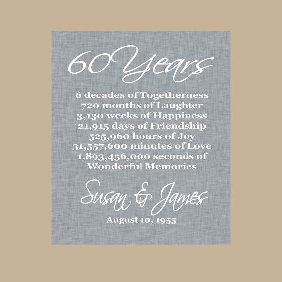60th Anniversary Gift  Diamond Anniversary  Personalized
