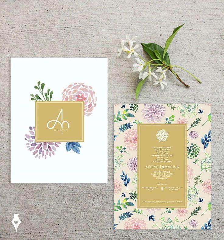 Floral προσκλητήριο γάμου. Σχεδιασμός αρχιγραμμάτων σε μορφή λογότυπου. Εκτύπωση σε matte gold colour. #προσκλητηριο #γαμου #λουλουδια #wedding #invitation #floral