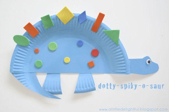 a little delightful: {craft} paper plate dinosaurs