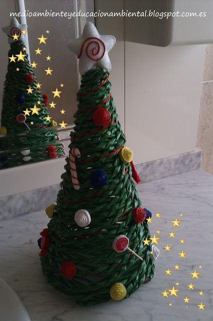 Rbol de navidad reciclado cester a papel reciclaje - Adornos navidenos papel ...