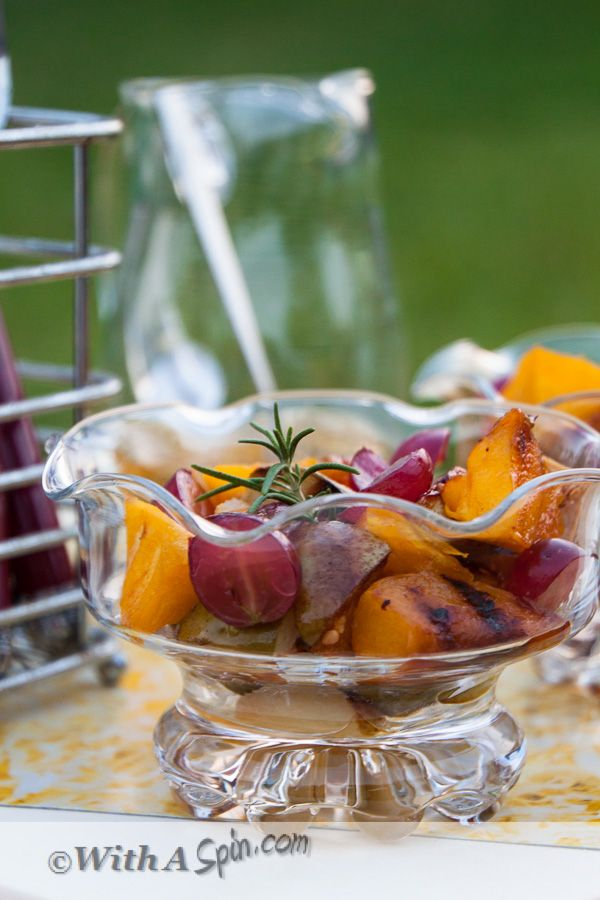 Rosemary infused honey syrup in Grilled Fruit Salad | With A Spin