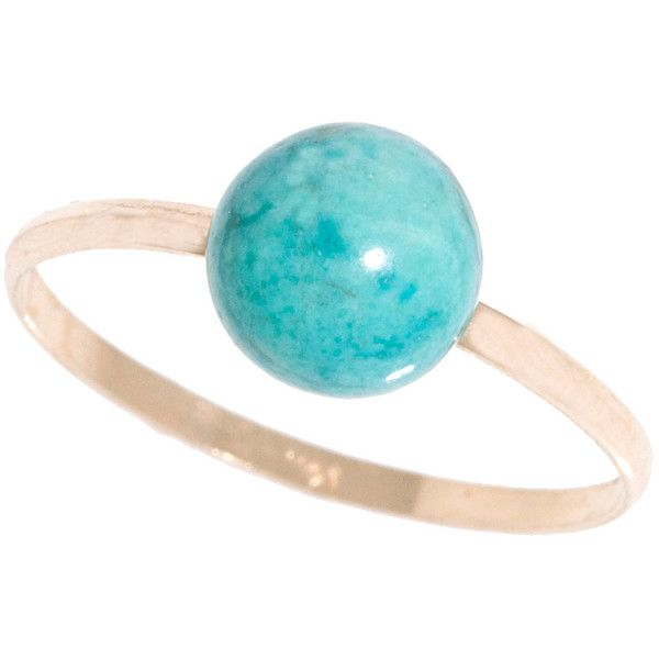Sevil 14K Solid Gold Band w 6MM Turquoise Gemstone Ball (460 EGP) ❤ liked on Polyvore featuring jewelry, rings, jewelry & watches, 14k ring, gold band ring, gem jewelry, gemstone rings and gemstone band rings