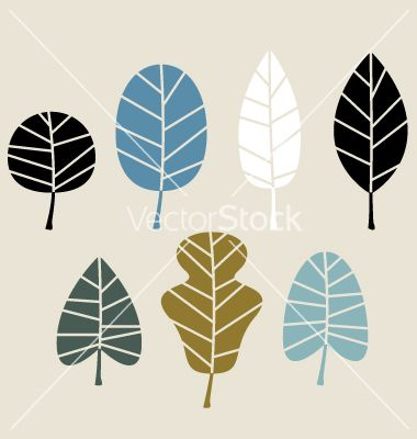Retro autumn leaves isolated on beige background vector 1633430 - by lordalea on VectorStock®