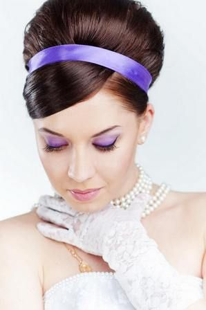 бело-фиолетовый наряд невесты