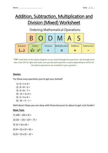 bidmas bodmas maths worksheet multiplication division. Black Bedroom Furniture Sets. Home Design Ideas