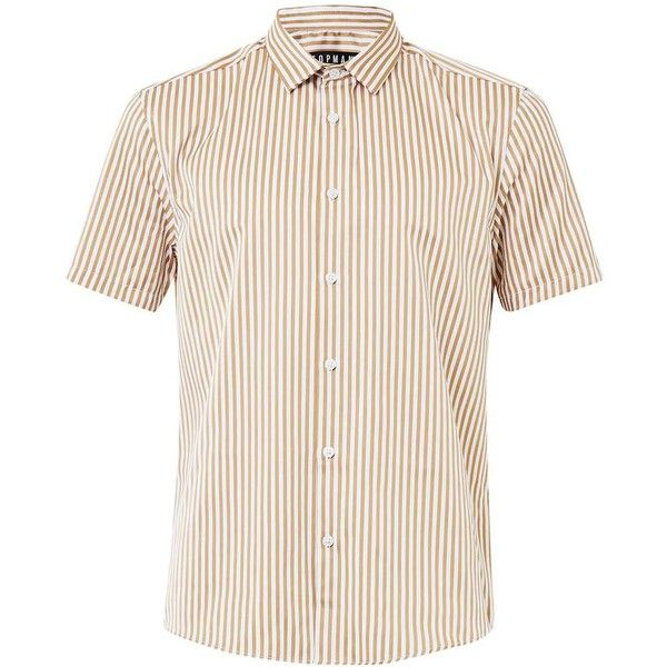 TOPMAN Tan and White Bengal Stripe Short Sleeve Smart Shirt ($37) ❤ liked on Polyvore featuring men's fashion, men's clothing, men's shirts, brown, mens white shirts, mens slim fit white shirt, mens white short sleeve shirt, mens collared shirts and mens slim fit short sleeve shirts