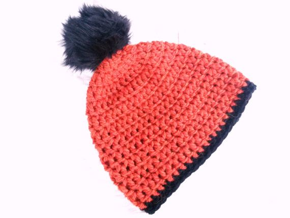 Faux Fur pom pom hat orange pom pom hat beanie by DawnsBagBoutique