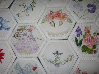 pretty hexagons using vintage doilies. It could also use pieces from pillow cases or hankies.