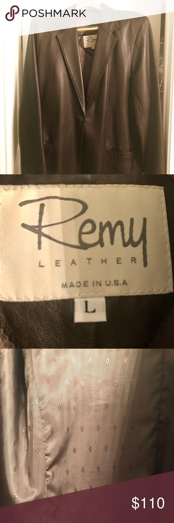 Ladies Remy Leather Brown Jacket This is a beautiful 100% authentic leather jacket, with soft brown leather. It is fully lined. Size L. Can be worn with just about anything. Only worn once (wrong size and it was a gift). It's a must have for your wardrobe. Remy Leather Jackets & Coats Blazers