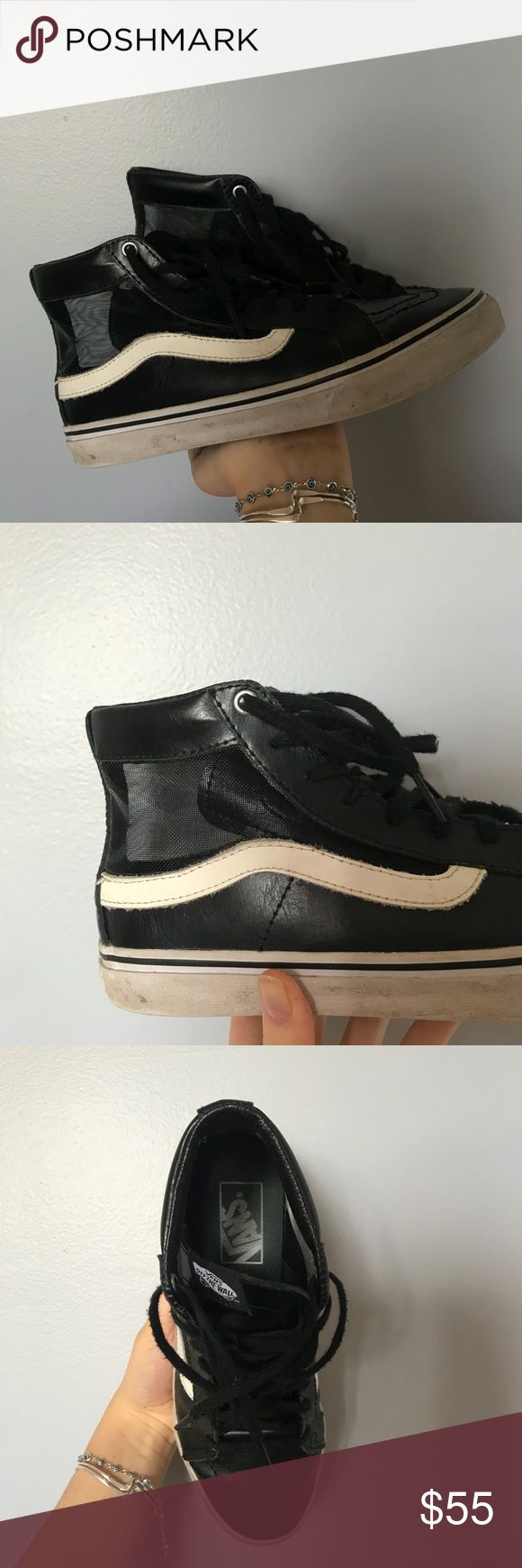 RARE Leather and Mesh Vans Shoes! Super Dope Black and White Vans High Top Sneakers! They Look Like the Usual Black High Tops But Made Out of Faux Leather and Mesh. True To Size. Talk to Me About Price! Vans Shoes Sneakers