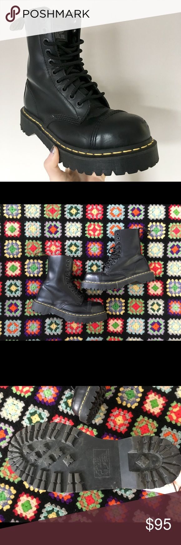 Dr Martens steel toe black boots Dr Martens Docs  8761  Steel toe black classic leather boots.  Size us ladies 8  Fits an 8.5  Great condition, a few scratches and scuffs on toes. Dr. Martens Shoes Combat & Moto Boots