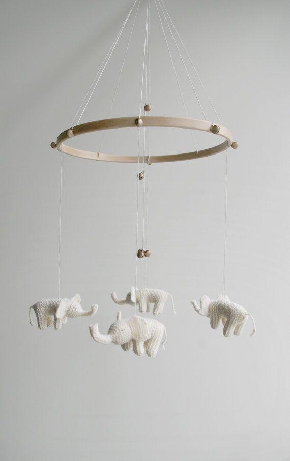 crocheted baby elephant mobile