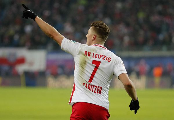 Marcel Sabitzer of RB Leipzig celebrates after scoring his team's second goal during the Bundesliga match between RB Leipzig and TSG 1899 Hoffenheim at Red Bull Arena on January 28, 2017 in Leipzig, Germany.