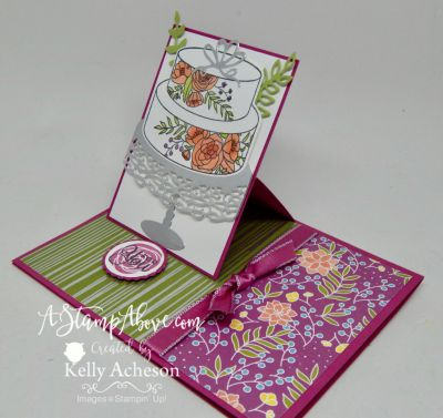 The Cake Soiree bundle is one of my favorites! You'll find a video tutorial on my blog for this fabulous easel card and little treat tag on my blog. Just click on the photo to go to my blog. You can also order this entire suite there THANKS for looking! www.AStampAbove.com