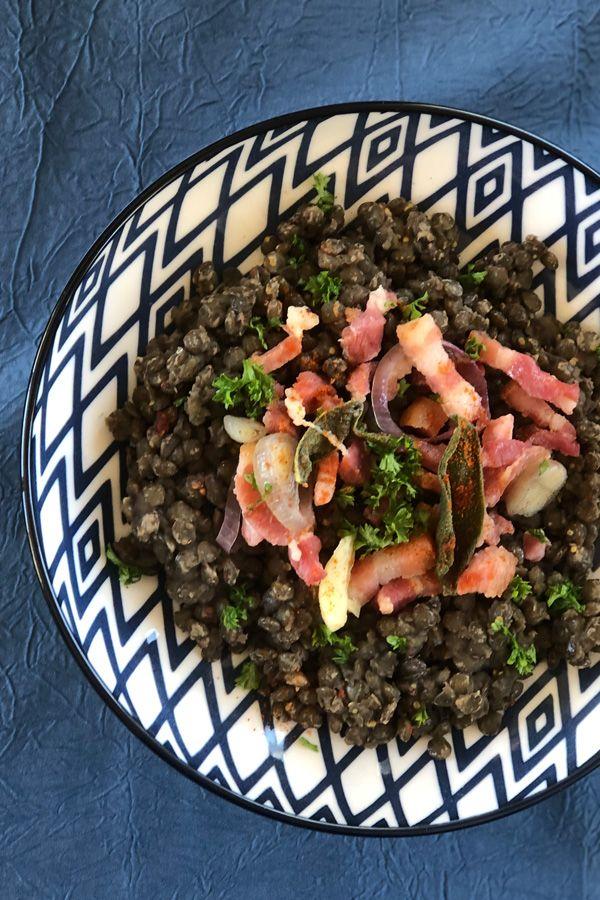 Salade de lentilles et lardons aux graines germées