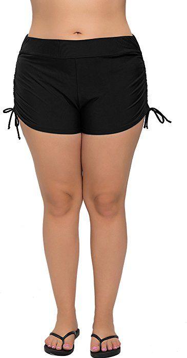 18431e8177 Amazon.com: Attraco womens plus size swimsuit bottom tankini bottom beach  shorts black 1x: Clothing