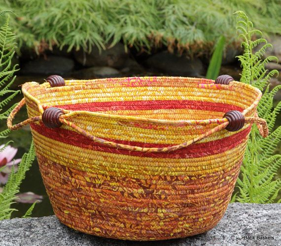 Batik wrapped clothesline cord Knitting Basket in autumn