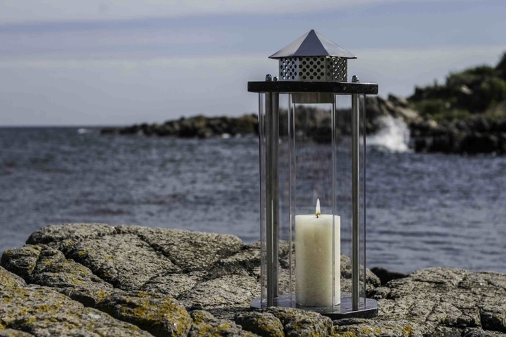 Beautiful lantern in stainless steel produced on Bornholm.