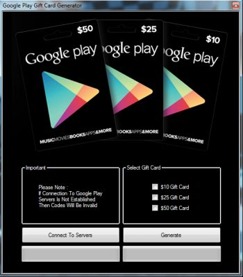Google play gift card generator password