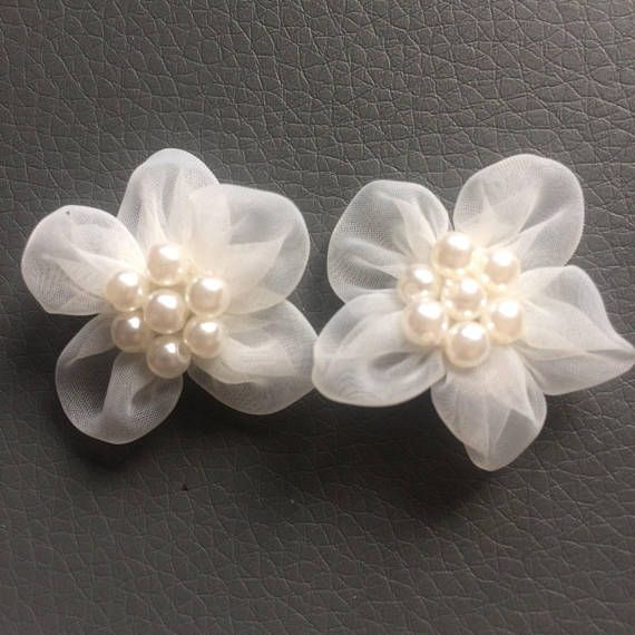 Vintage Appliques White and Pearl beaded Bow Shaped  Applique made in France