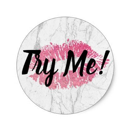 Product Tester Try Me Pink Lips White Marble Classic Round Sticker - sample design diy personalize idea