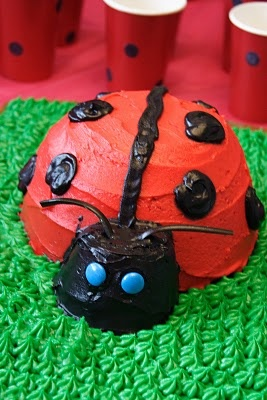 Lady Bug Cake    Use an oven-proof mixing bowl to make a dome shaped body, and an upside down cupcake for the head