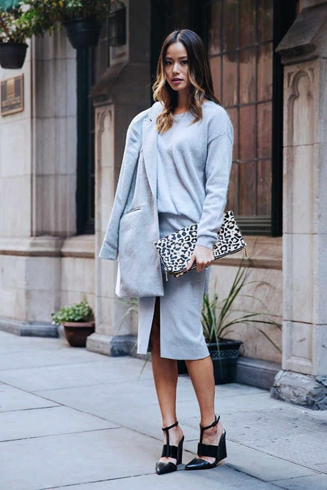 Day off or the office, this cozy all-gray outfit on Jamie Chung is perfect